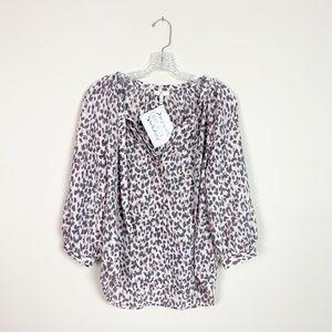 Joie | leopard print tie neck 3/4 sleeve blouse S